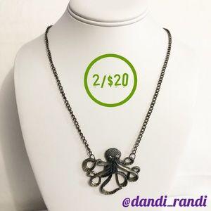 Antiqued Gold Tone Kraken Pendant Necklace